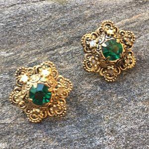 Vintage Green Rhinestone Filigree Clip-on Earrings